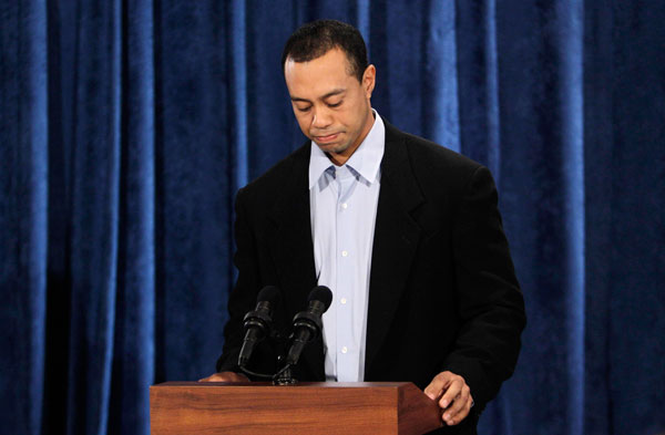 "Feb. 19 - In a 13 1/2-minute statement televised to a worldwide audience, Woods apologizes again for cheating on his wife without revealing the scope of his infidelity or when he will return to golf. ""I have made you question who I am and how I could have done the things I did,"" he says to a room of 40 associates, including his mother and top employees. His wife, Elin, is not in the room."