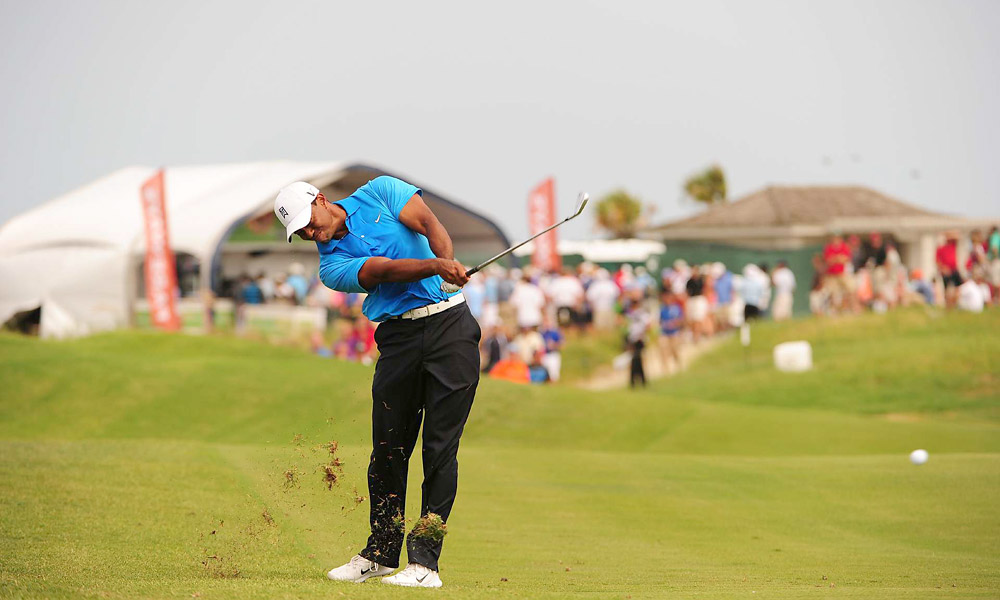 Woods shot a one-under 71 on a tough, windy day at Kiawah Island.