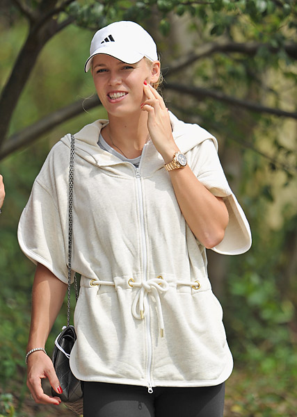 Caroline Wozniacki, McIlroy's girlfriend, followed Rory's round at Hong Kong Golf Club.