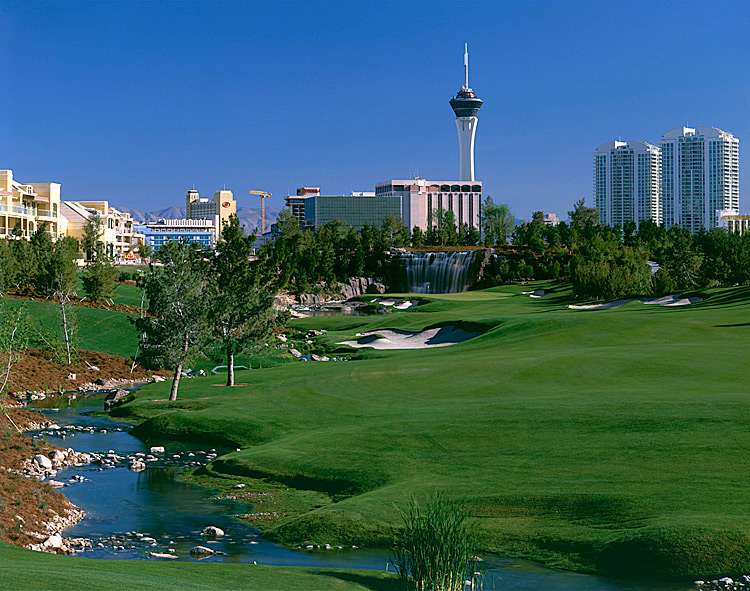 Wynn Golf Course -- Las Vegas, Nev.Don't bark about the unbearable August heat in Nevada — the heat and humidity is a lot worse in Alabama, Oklahoma and Georgia, among other steamy PGA locales. Tom Fazio's spectacular triumph of remaking the old Desert Inn layout echoed his efforts at nearby Shadow Creek — but can you imagine playing a major right on the Vegas Strip? Ranked No. 66 on Golf Magazine's Top 100 Courses You Can Play
