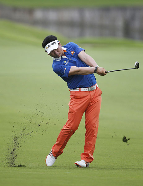 Y.E. Yang shot even par, but he is still in contention heading into the final round.