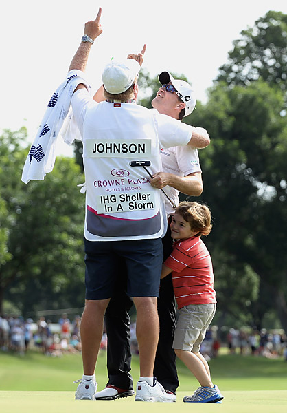 On the final hole of the Crowne Plaza Invitational, Zach Johnson held a three-stroke lead over Jason Dufner, who was away on the green. Johnson moved his ball mark so Dufner could putt, but he forgot to move his ball mark back to its original position when it was his turn. When Johnson's putt dropped, he celebrated until a rules official alerted him of the penalty. Fortunately for Johnson, the penalty only cost him two strokes, which still left him with a one-stroke victory.