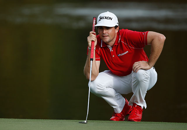 Keegan Bradley lines up a putt during the final round of the Hero World Challenge.