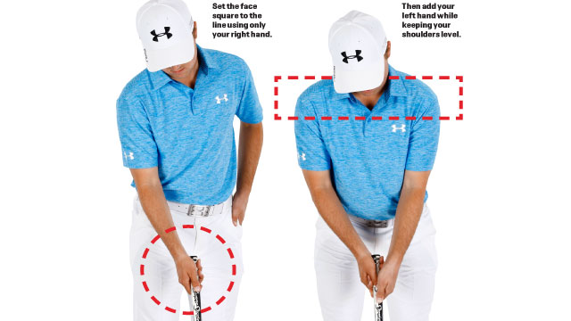 My grip makes it easy to keep the face square through impact. (Angus Murray)