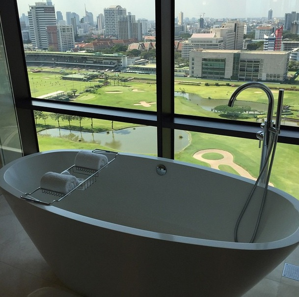 If carlsberg did baths they'd do them overlooking a golf course & racetrack!