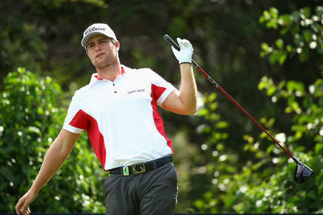 Lucas Bjerregaard of Denmark lets go of his driver on the 10th tee during the final round of the Alfred Dunhill Championship.