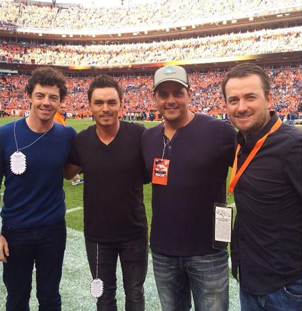 "The boys took in a Broncos game after the BMW Championship. Rickie: ""Solid foursome #sidelines @rorymcilroy @jjd7007 @graeme_mcdowell"""