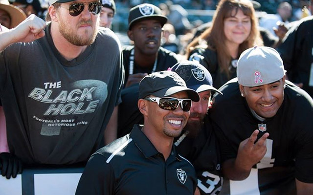 "Tiger Woods showed some love for the Oakland Raiders and their fans. Tiger: ""Raiders pre-game with The Black Hole."""