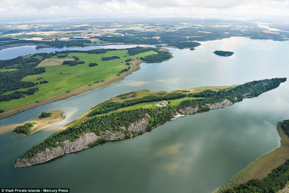Another aerial view of the private island and surrounding area.