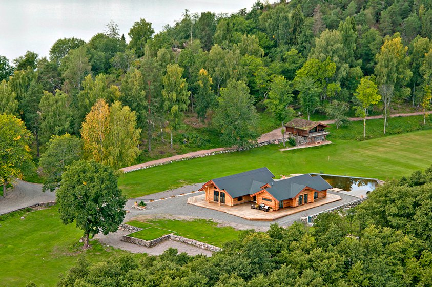 An aerial view of the secluded villa, approximately 775 square feet in size.