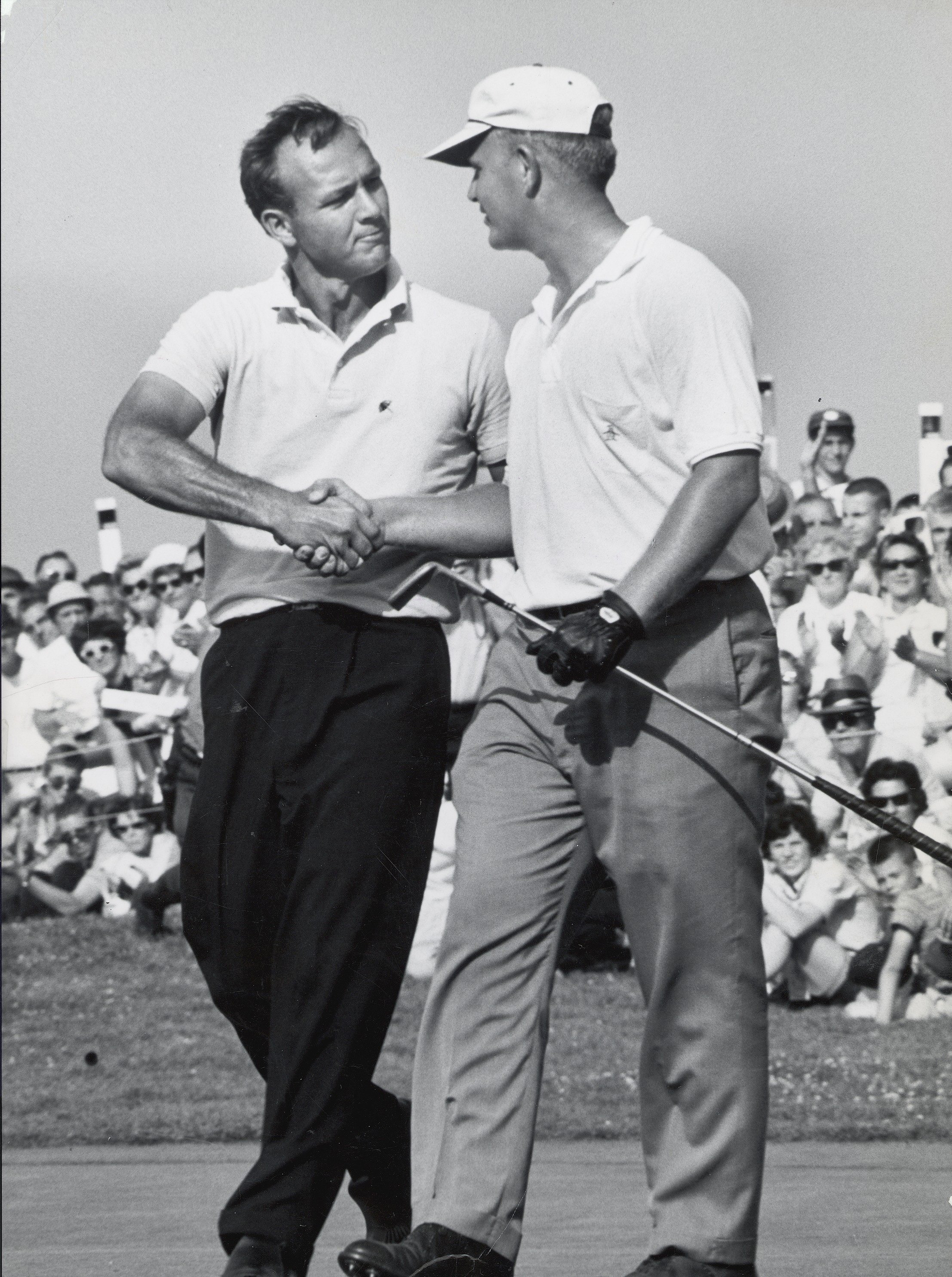 Arnold Palmer congratulates Jack Nicklaus after the 1962 U.S. Open at Oakmont in Pittsburgh.