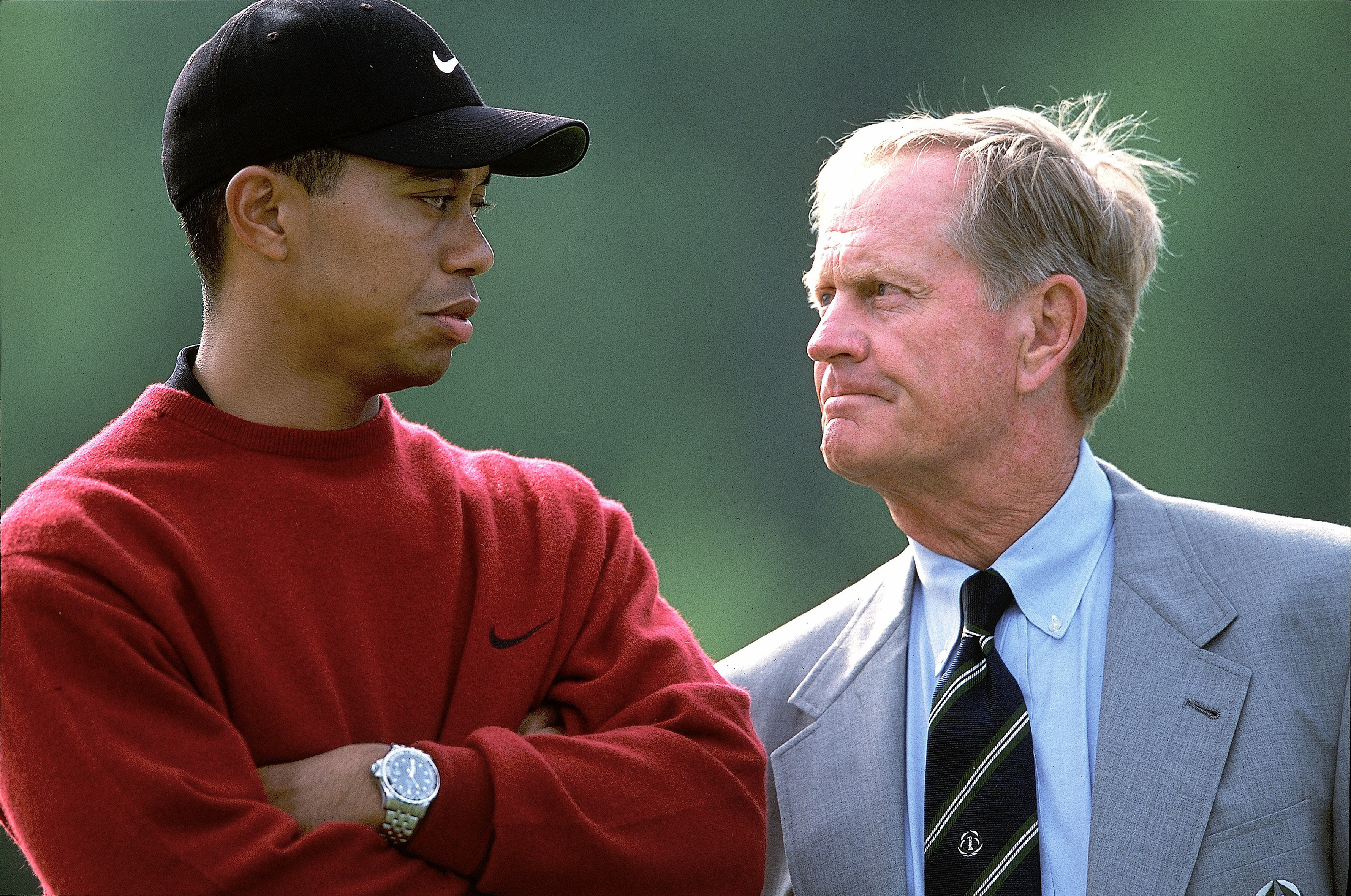 Tiger Woods and Jack Nicklaus at Muirfield Village in 2001.