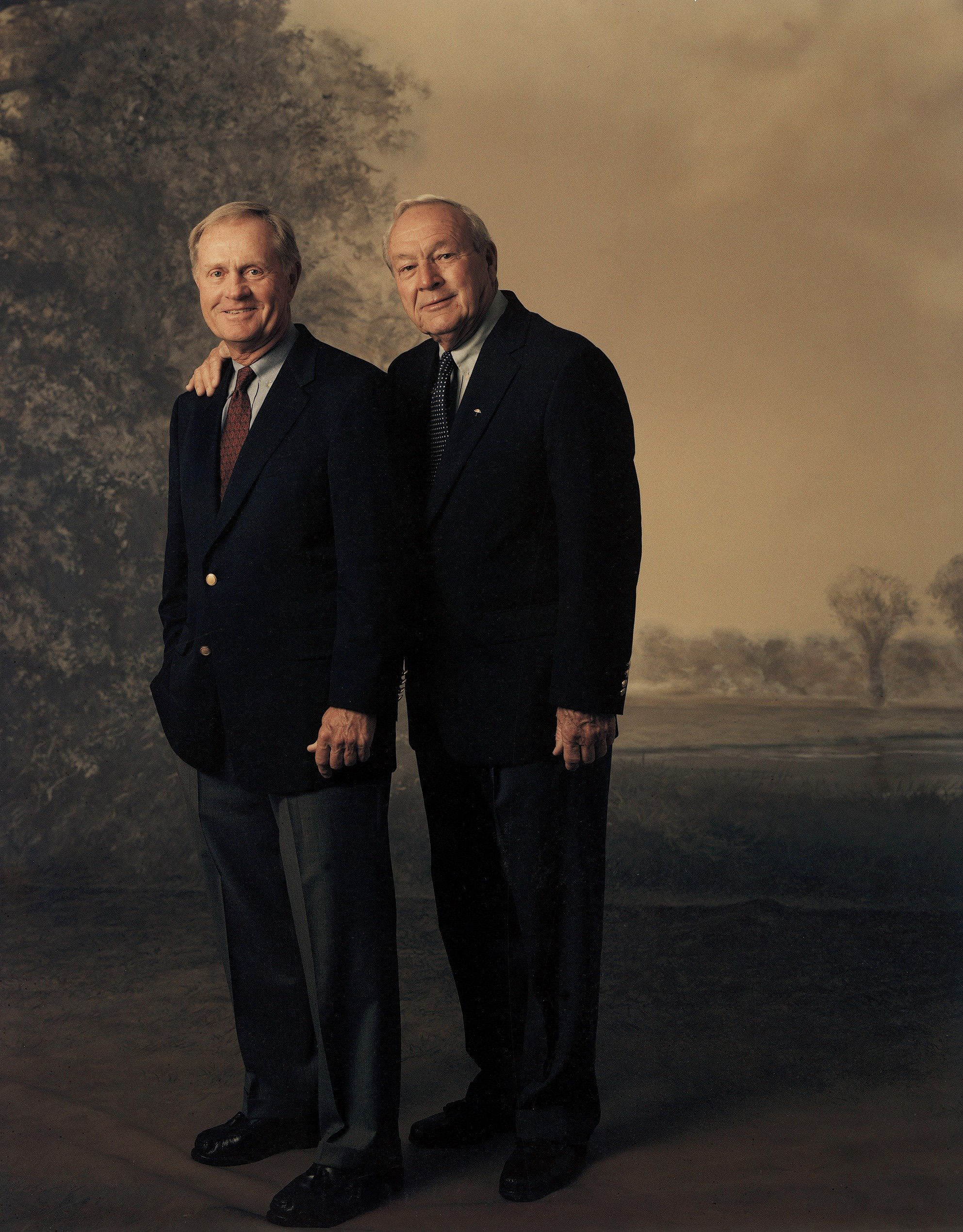 Jack Nicklaus and Arnold Palmer pose for a portrait in 2003.