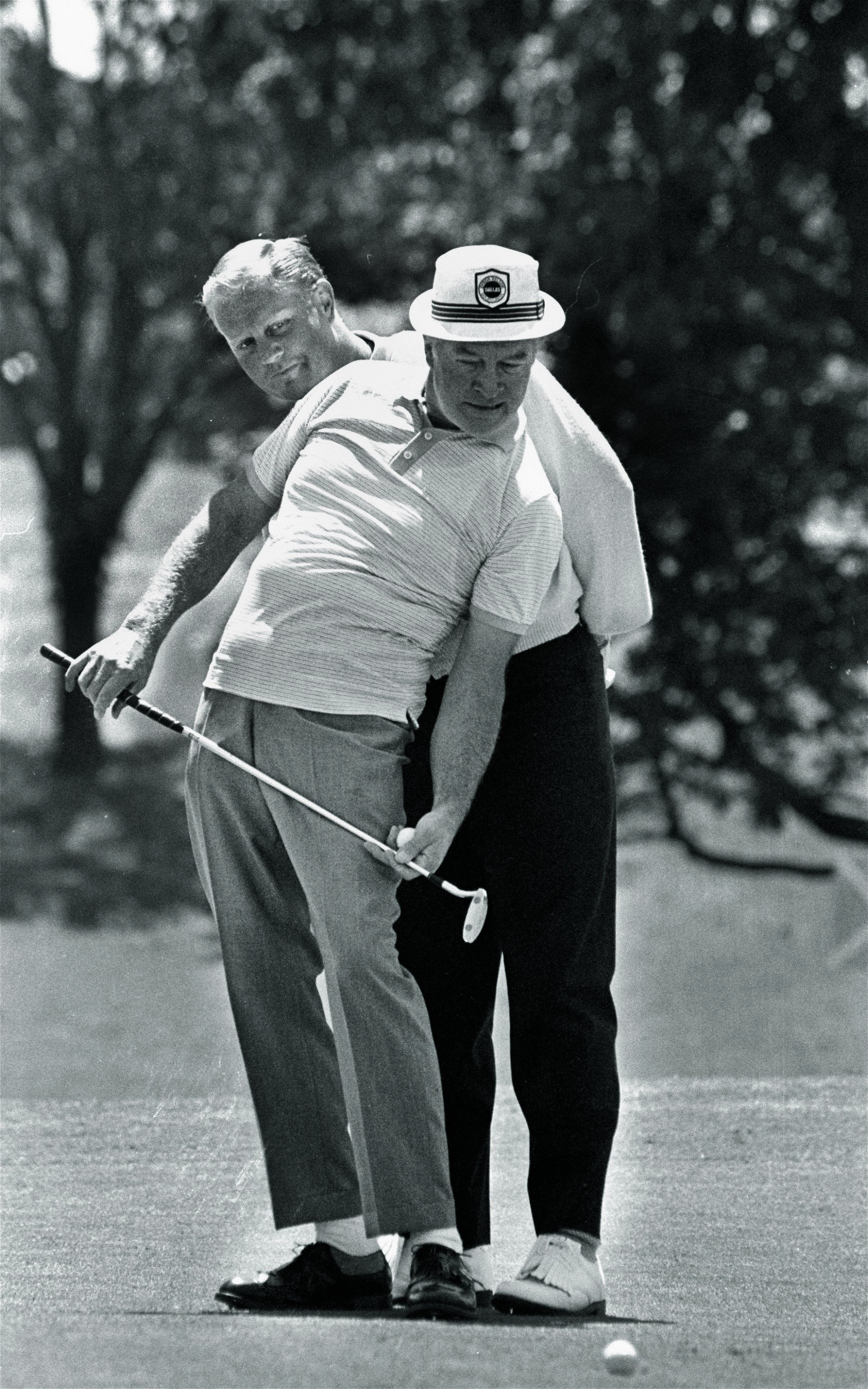 Bob Hope with Jack Nicklaus during Pro-Am play at the Byron Nelson Classic in Dallas in 1968.