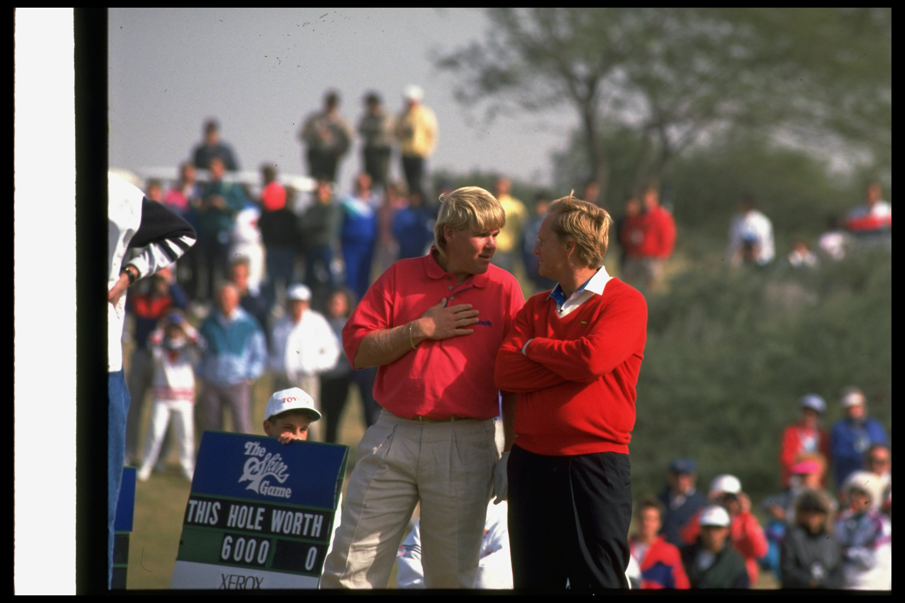 John Daly and Jack Nicklaus chat at the 1991 Skins Game.