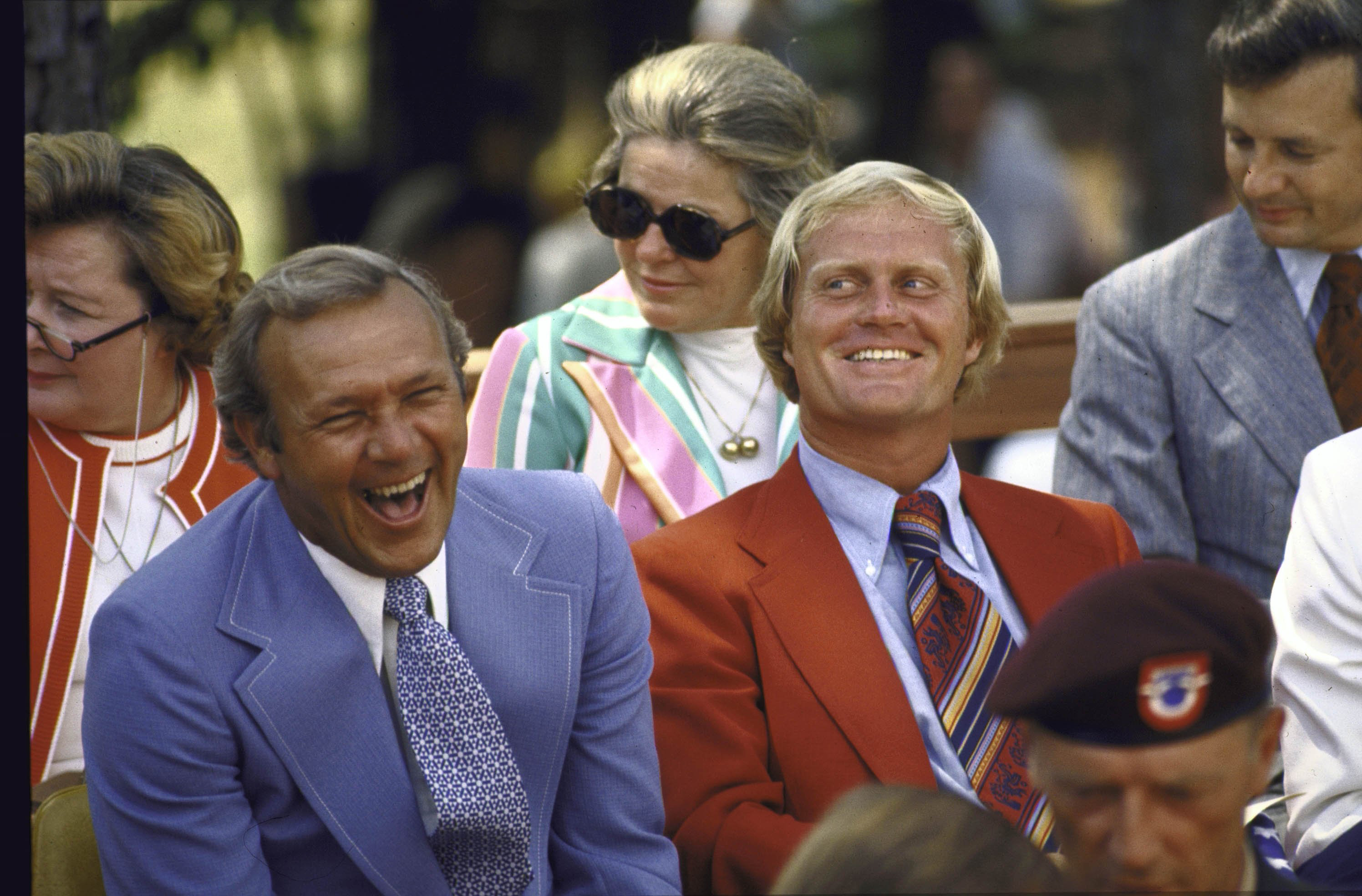 Arnold Palmer and Jack Nicklaus share laugh at the Dedication Ceremony for World Golf Hall of Fame in 1974.