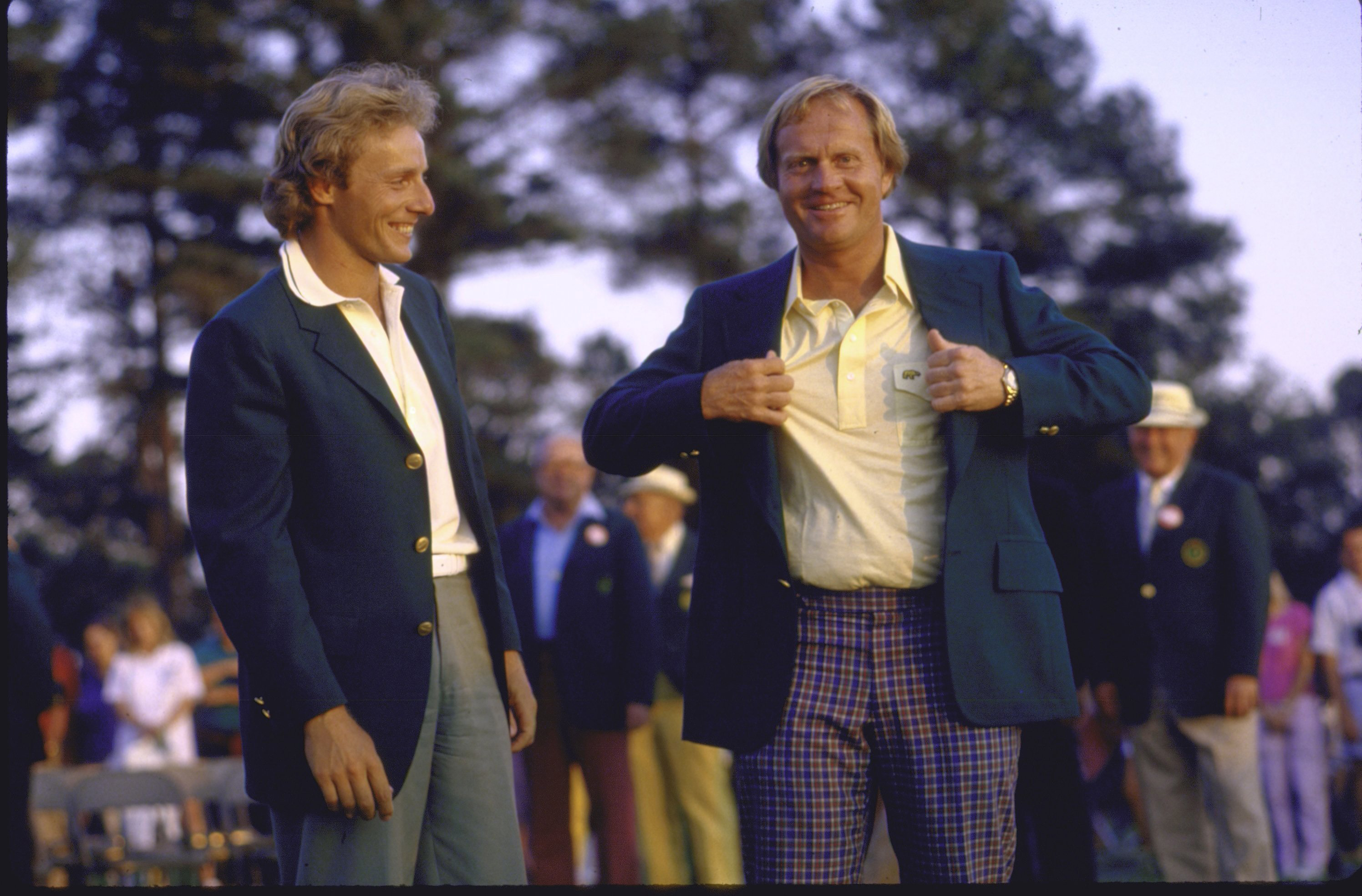 Jack Nicklaus and Bernard Langer at the 1986 Masters after Nicklaus' last major championship.