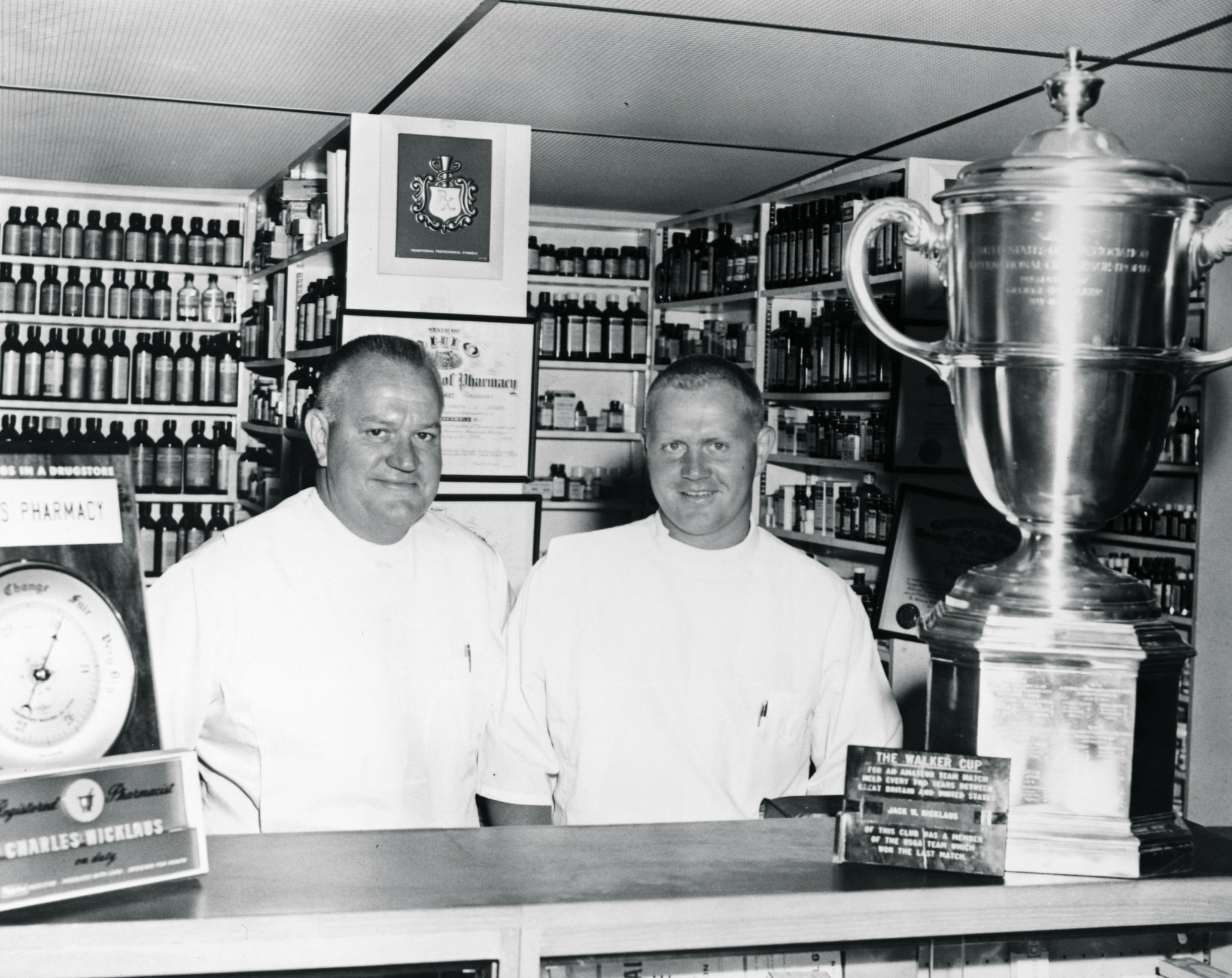 Jack Nicklaus at his father Charlie's pharmacy in 1960.