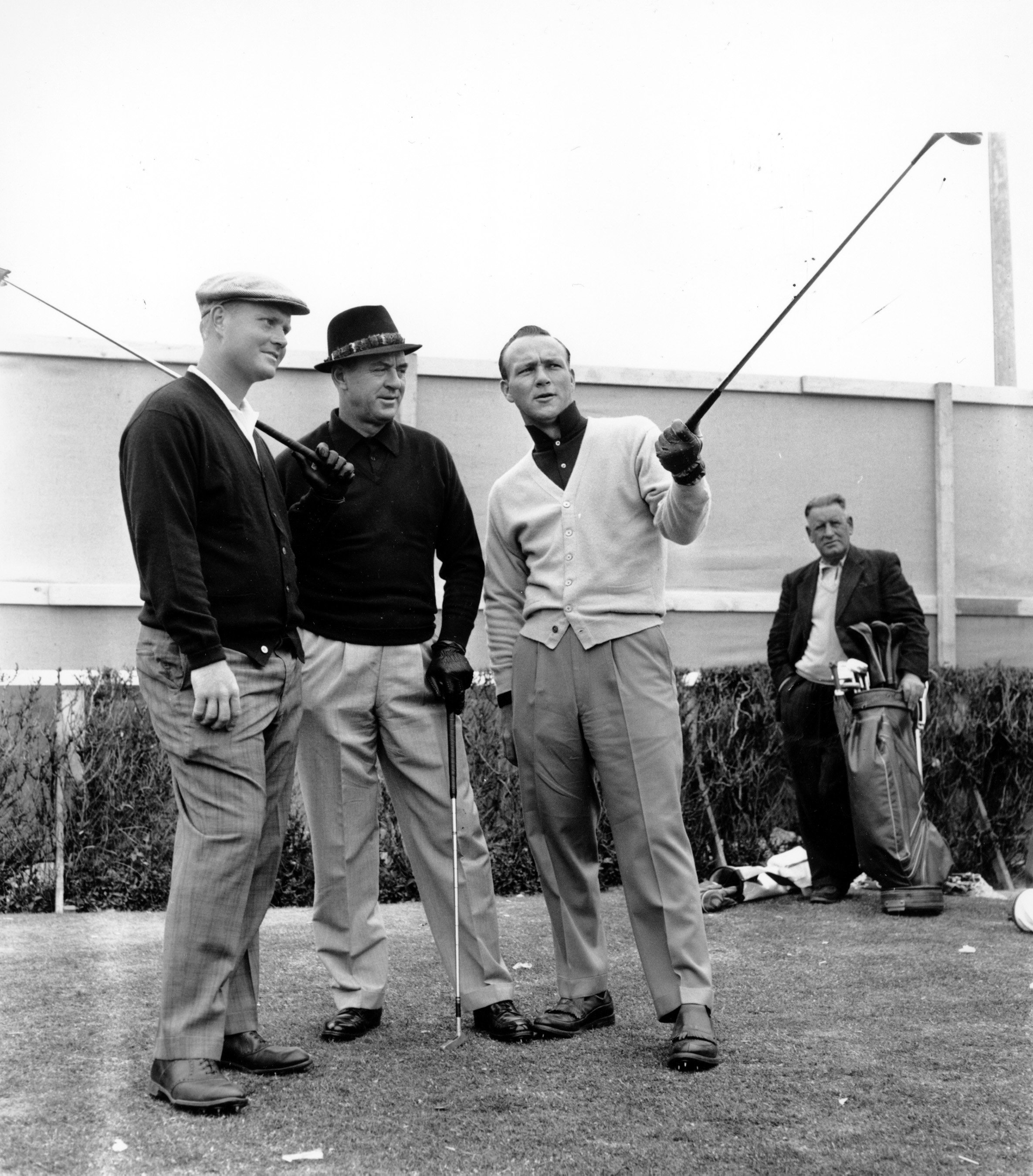 Jack Nicklaus, left, Sam Snead, center, and Arnold Palmer get together at the first tee during practice for the 1962 British Open at Royal Troon.