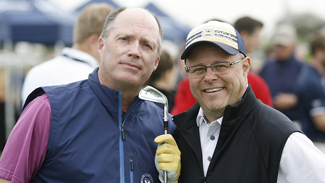 Gary Van Sickle and Milwaukee radio host Chuck Garbedian at the Ben Hogan tent.