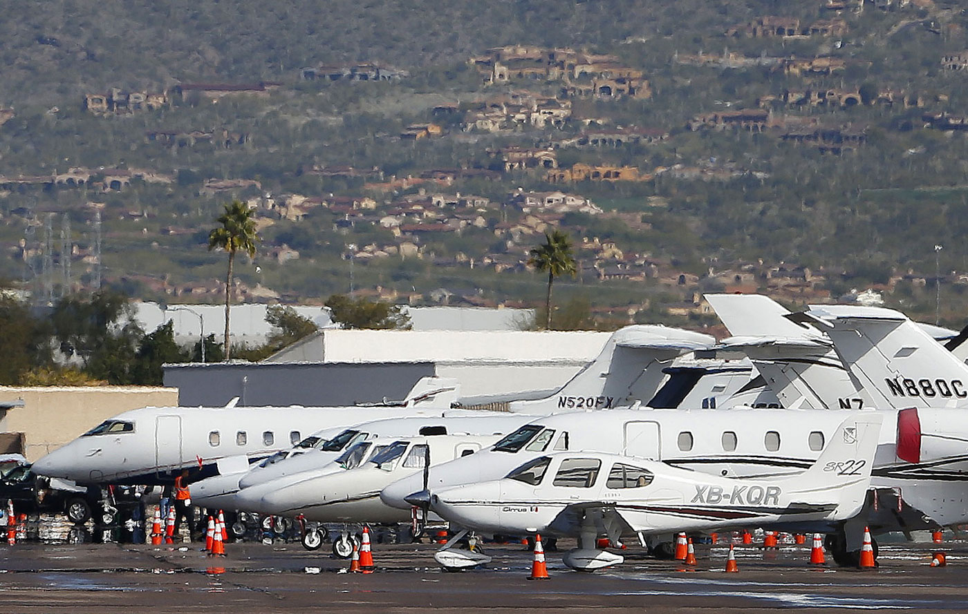 The Scottsdale Airport is filled with jets Tuesday leading up to the Super Bowl and the Waste Management Phoenix Open.