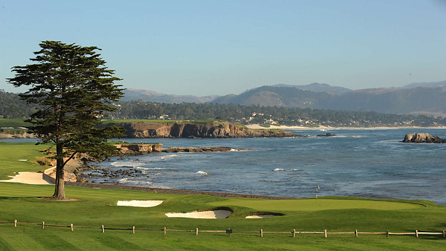 A view of the green at Pebble Beach's par-5 18th hole.