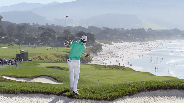 Brandt Snedeker hits a shot from the rough on the ninth hole during the final round of the AT&T Pebble Beach National Pro Am.