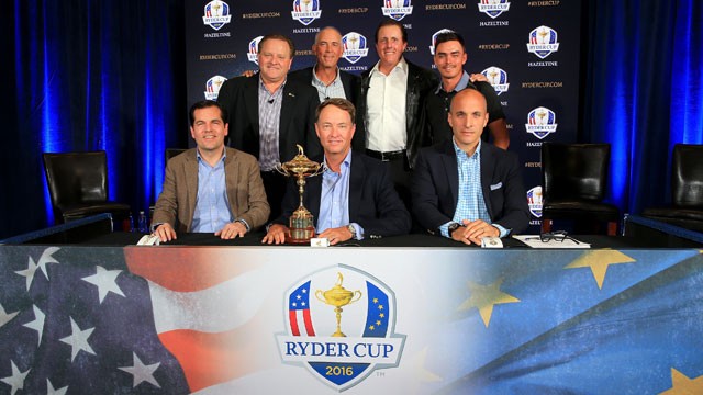 Members of the Ryder Cup Task Force during the announcement of Love as 2016 Captain and the findings of the Ryder Cup Task Force at the PGA headquarters on February 24, 2015 in Palm Beach Gardens, Florida.