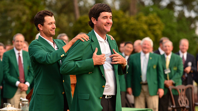 Adam Scott and Bubba Watson at the 2014 Masters green jacket ceremony.