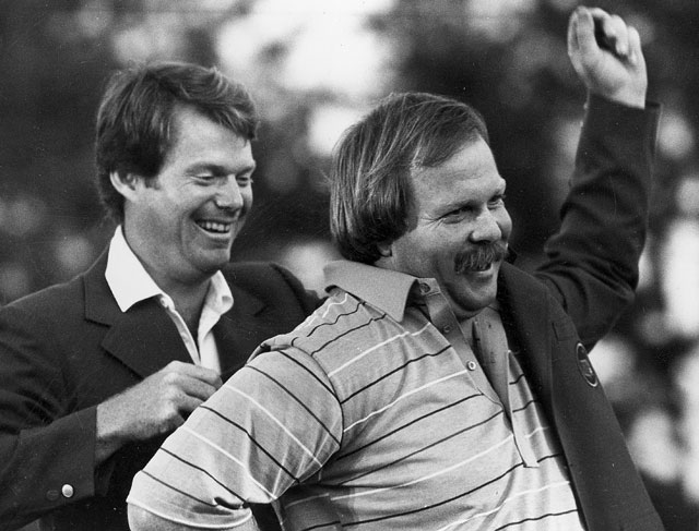 In 1982, Tom Watson helps the new champion don his new duds.