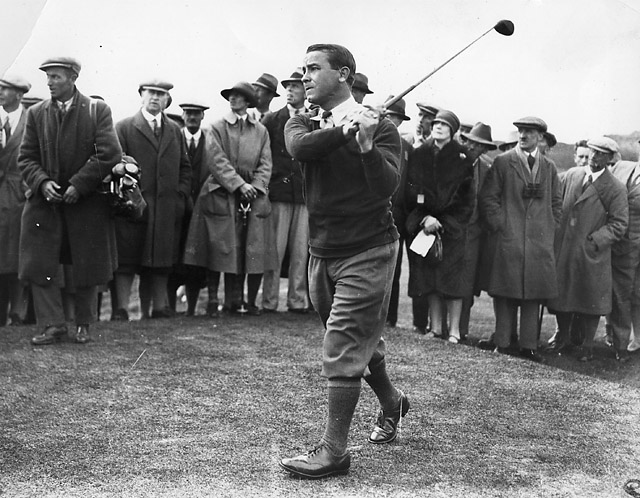 Gene Sarazen in 1935, no video available of his 'Shot Heard Round The World.'