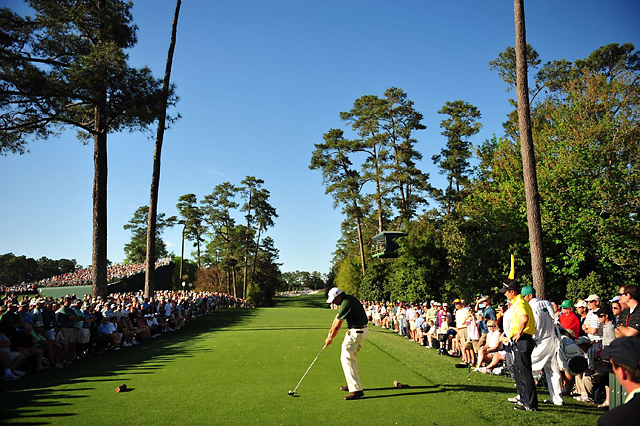 Phil Mickelson tees off on the 18th hole in the third round of the 2010 Masters.