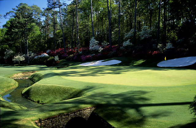 Many Masters dreams found a watery grave in the creek in front of the 13th green.