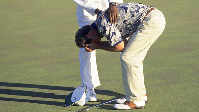 Ben Crenshaw bursts into tears after sinking the winning putt at the 1995 Masters.