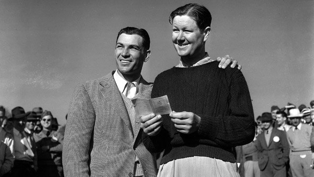 Ben Hogan (left) and Byron Nelson before the playoff at the 1942 Masters.