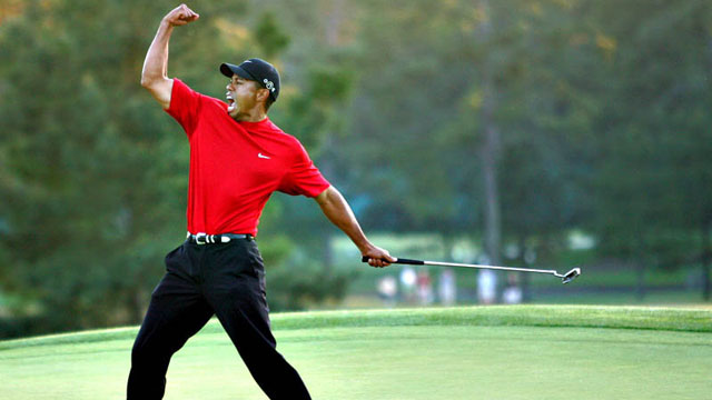 Tiger Woods at his last Masters victory in 2005.