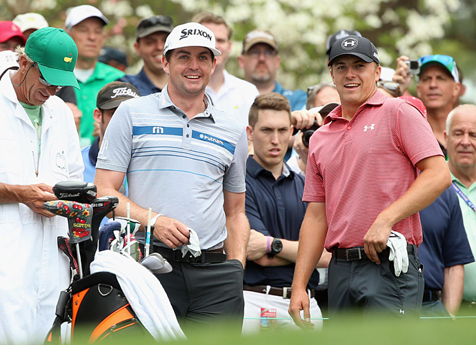 Keegan Bradley (left) and Jordan Spieth played a practice round together Monday. Both players had strong finishes Sunday at the Houston Open.