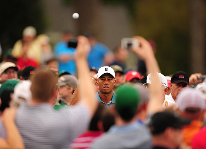 Tiger Woods showed up at Augusta National Monday afternoon to get in some practice.