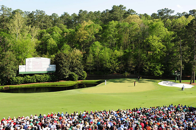 Tiger Woods on the 11th hole at the 2008 Masters.