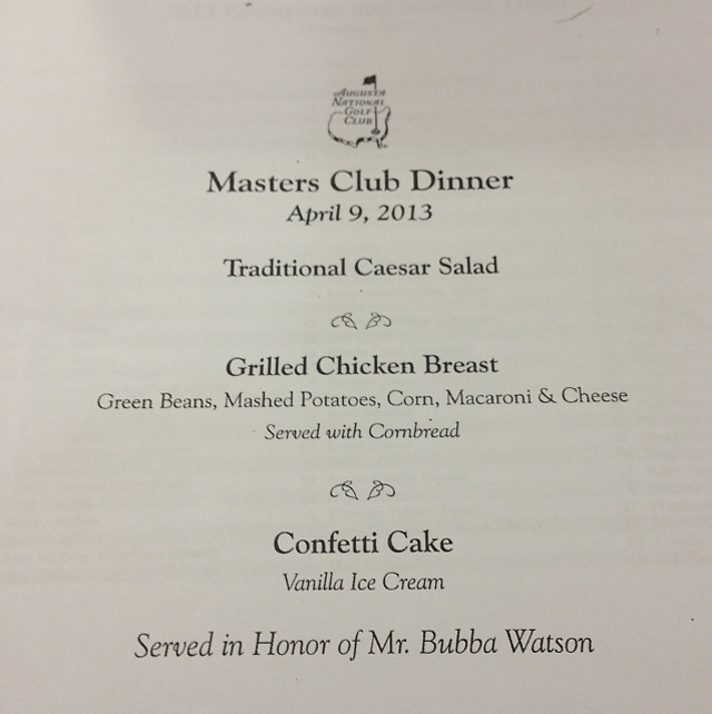 The menu at Bubba Watson's first Champions Dinner in 2013.