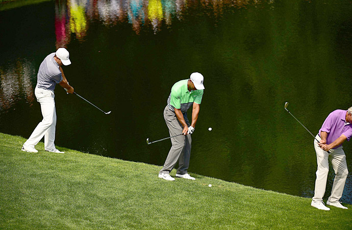 Spieth, Woods and Ben Crenshaw try to skip shots across a pond at Augusta National.