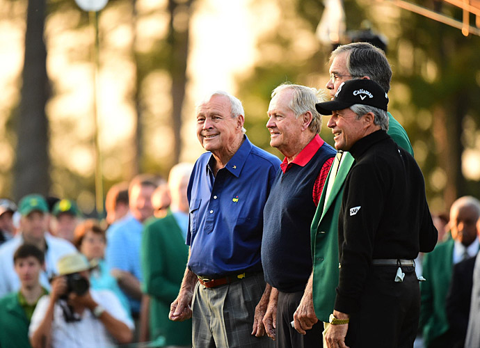 The Big Three -- Arnold Palmer, Jack Nicklaus, and Gary Player -- kicked off the event with ceremonial tee shots Thursday morning.