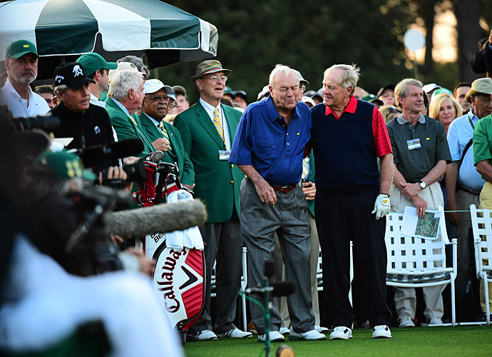 Old rivals Palmer and Nicklaus joked with each other on the tee.