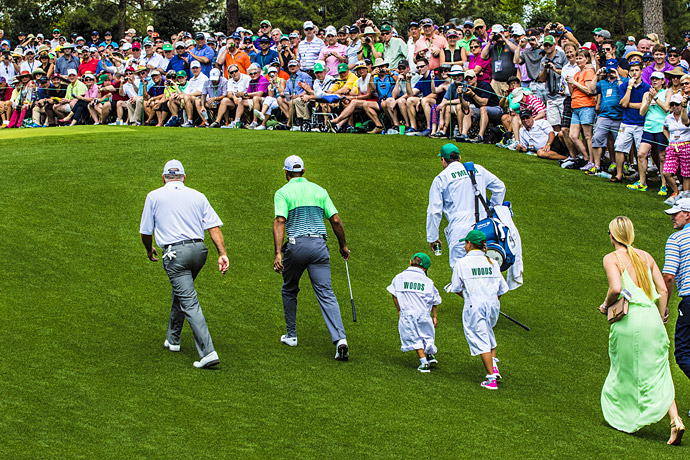 Tiger Woods' children, Sam and Charlie, caddied for their dad during the Par-3 Contest.