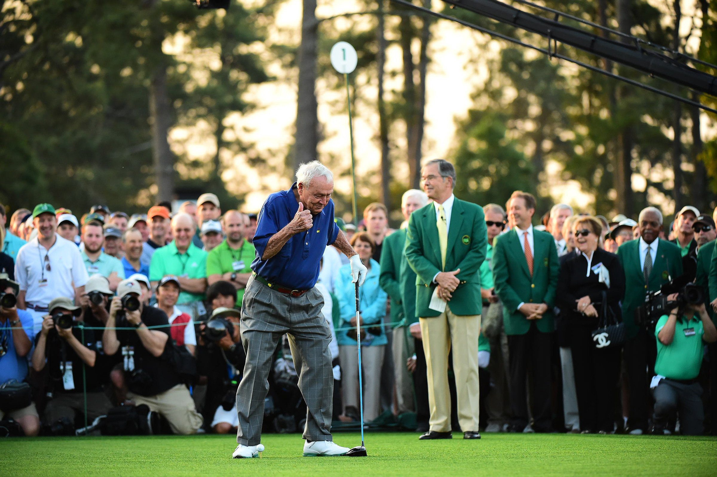 Arnold Palmer gives fans the thumbs-up on the first tee at Augusta Nationa.