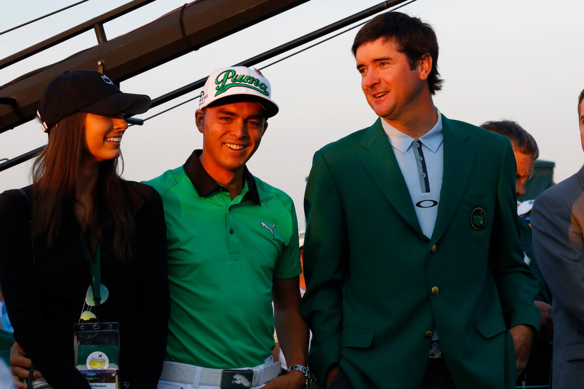 Rickie Fowler, girlfriend Alexis Randock and Bubba Watson watch the Big Three tee off Thursday Morning at Augusta National.