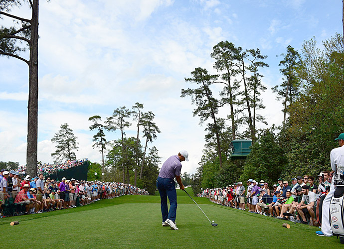 Spieth tees off on the 18th hole.