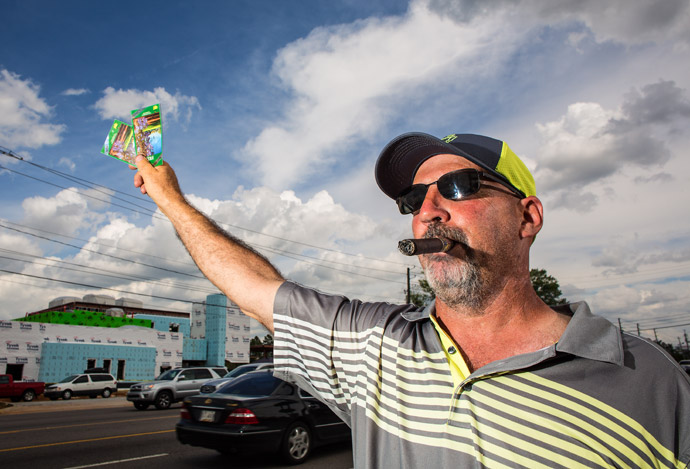 A man selling Masters tickets on Washington Road near Augusta National.