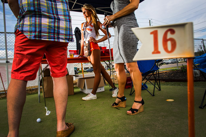 A putting contest organized by John Daly at Hooters on Washington Road in Augusta.