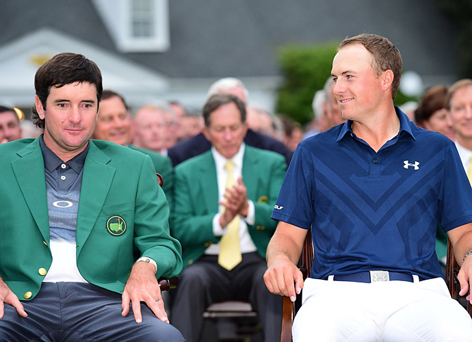 Watson and Spieth during the green jacket ceremony.